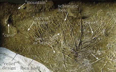 Aquí se ve el mapa más antigua del mundo según arqueólogos. Fue descubierto en una cueva de Abauntz, Navarra y dicen que tiene la representación de paisaje. Es un mapa de hace 14,000 años. Photo: EPA