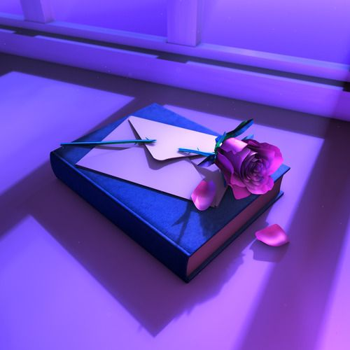 Left You A Love Note Purple Light Book And Rose Aesthetic Purple Aesthetic Violet Aesthetic Aesthetic Colors