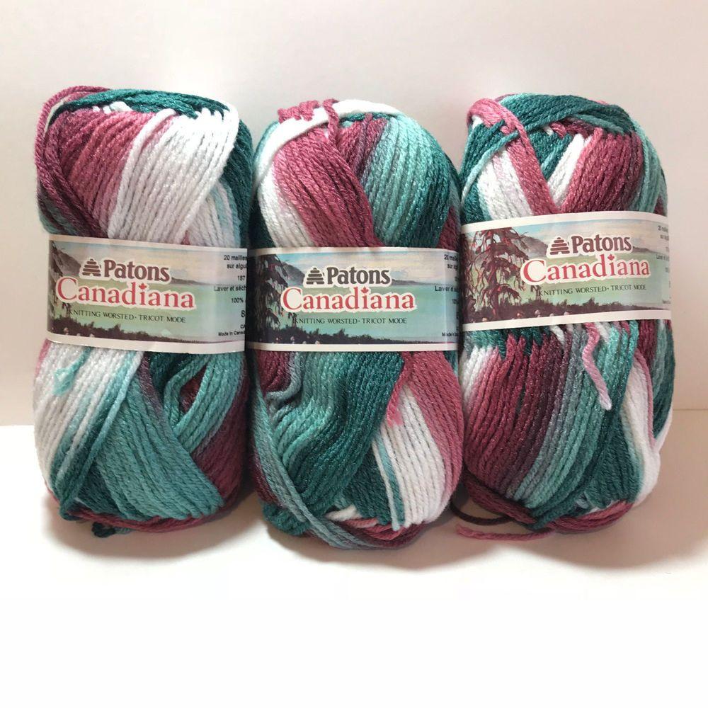 Patons Canadiana Rose Wood Jade 100% Acrylic Yarn 3 Skeins ...