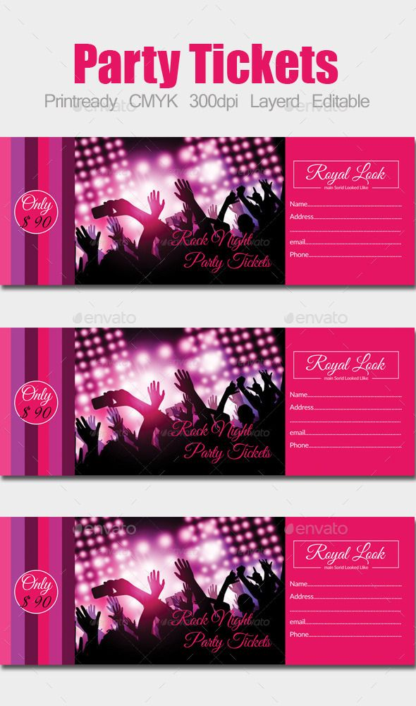 Concert Pass / Party Ticket Pinterest Party tickets, Template