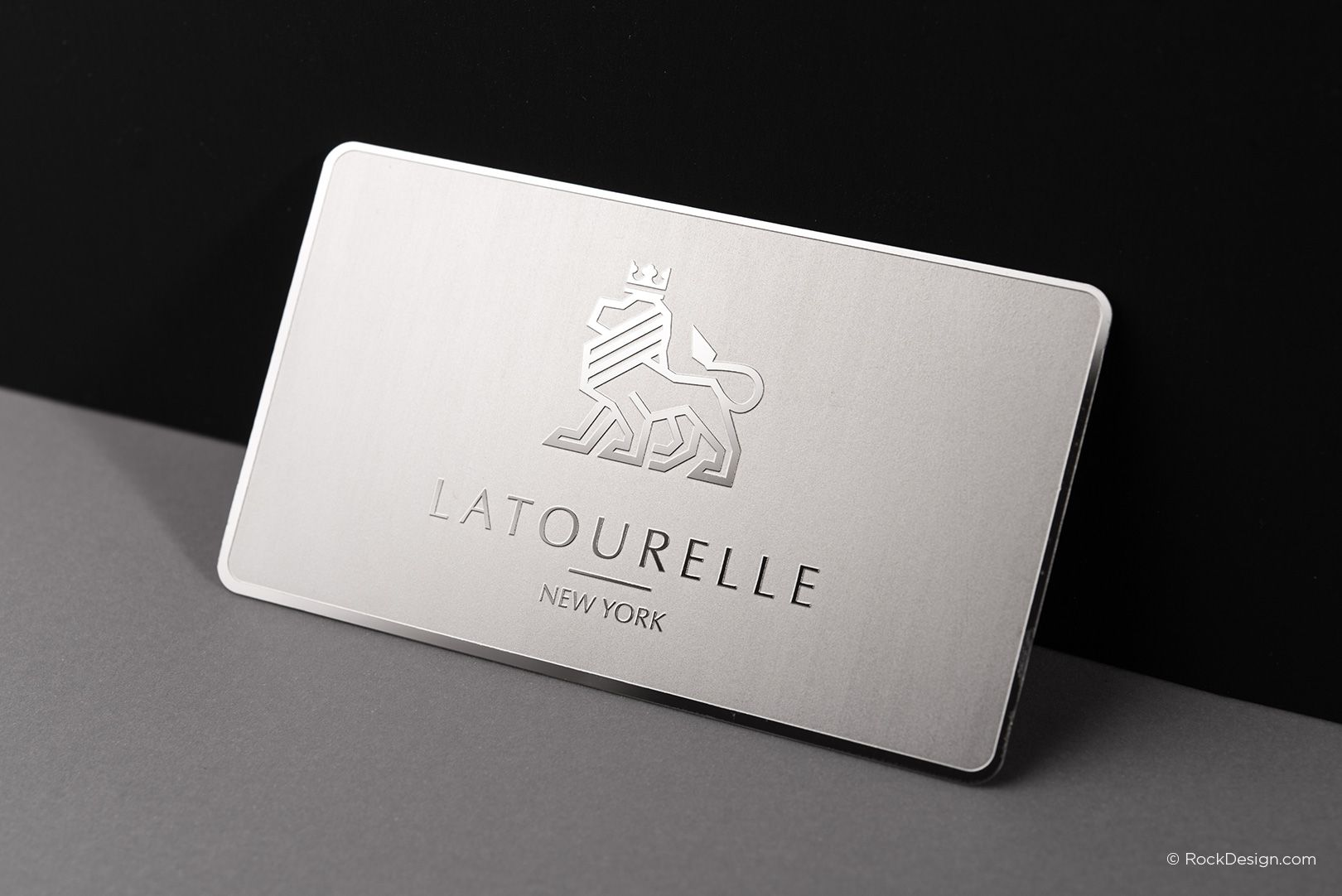 Sophisticated modern stainless steel business card with etching ...