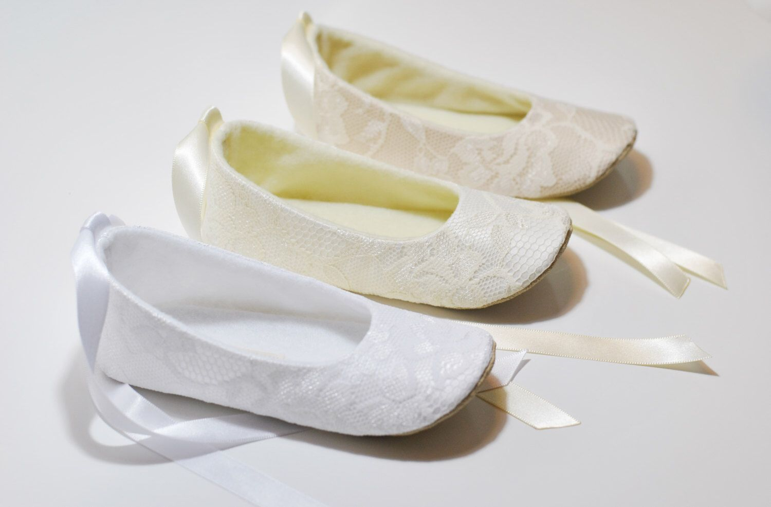 80f0fcbfc Ivory or White or Nude Lace Ballet Slippers - Flower Girl Shoes ...