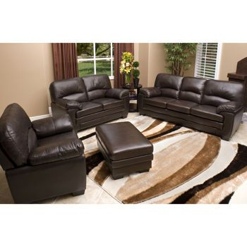Abbyson Living Charleston Premium Top Grain Leather Sofa Loveseat And Armchair Set