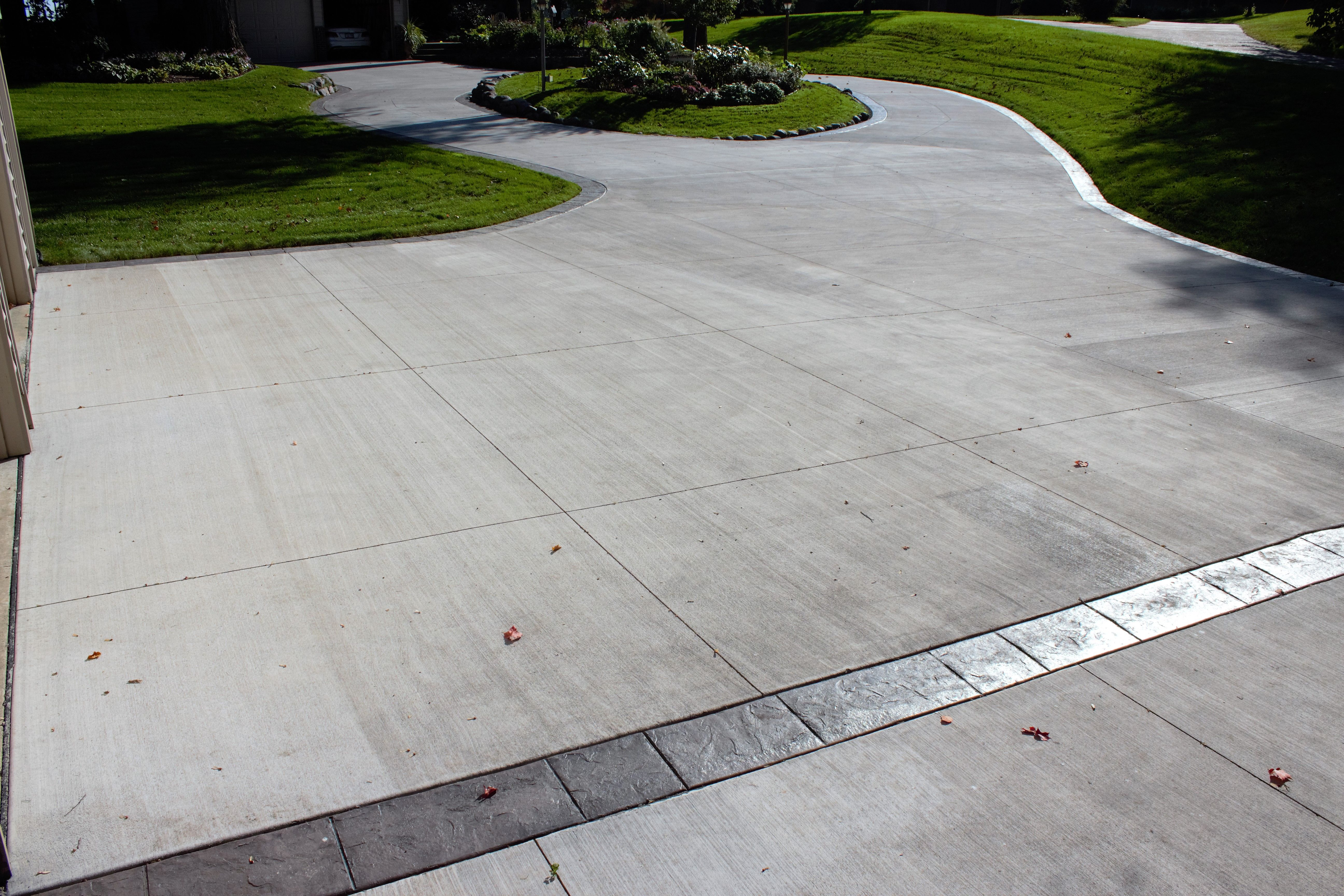 Gray Brushed Concrete Driveway With Gray Tones Seamless Stamped
