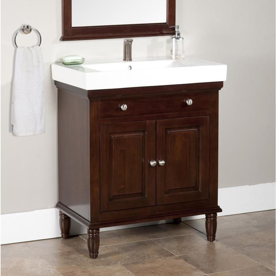 Lowe S Monte 30 In Dark Chocolate Single Sink Bathroom Vanity With White Porcelain Top I 30 Inch Bathroom Vanity Modern Bathroom Vanity 24 Inch Bathroom Vanity [ 900 x 900 Pixel ]
