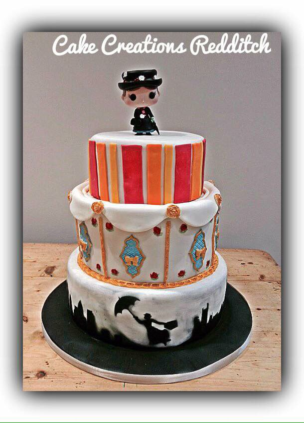 3 tier Mary Poppins cake from Cake Creations Redditch Top layer of