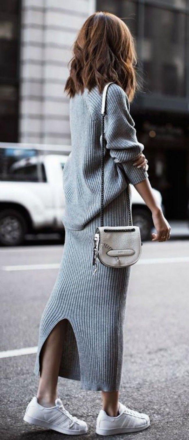d4b93d8e0b7220 Grey Knit Trend.  Inspo by .sabo skirt.  grey