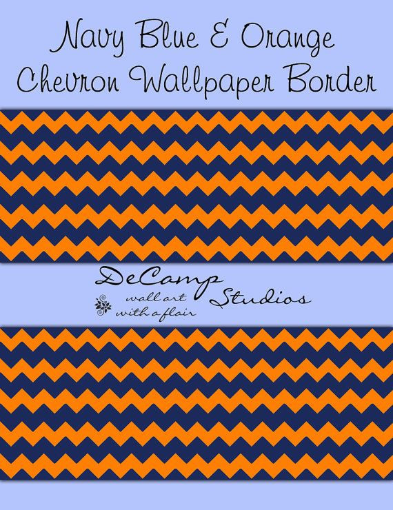 CHEVRON WALLPAPER BORDER Wall Decal Navy Blue Coral Orange