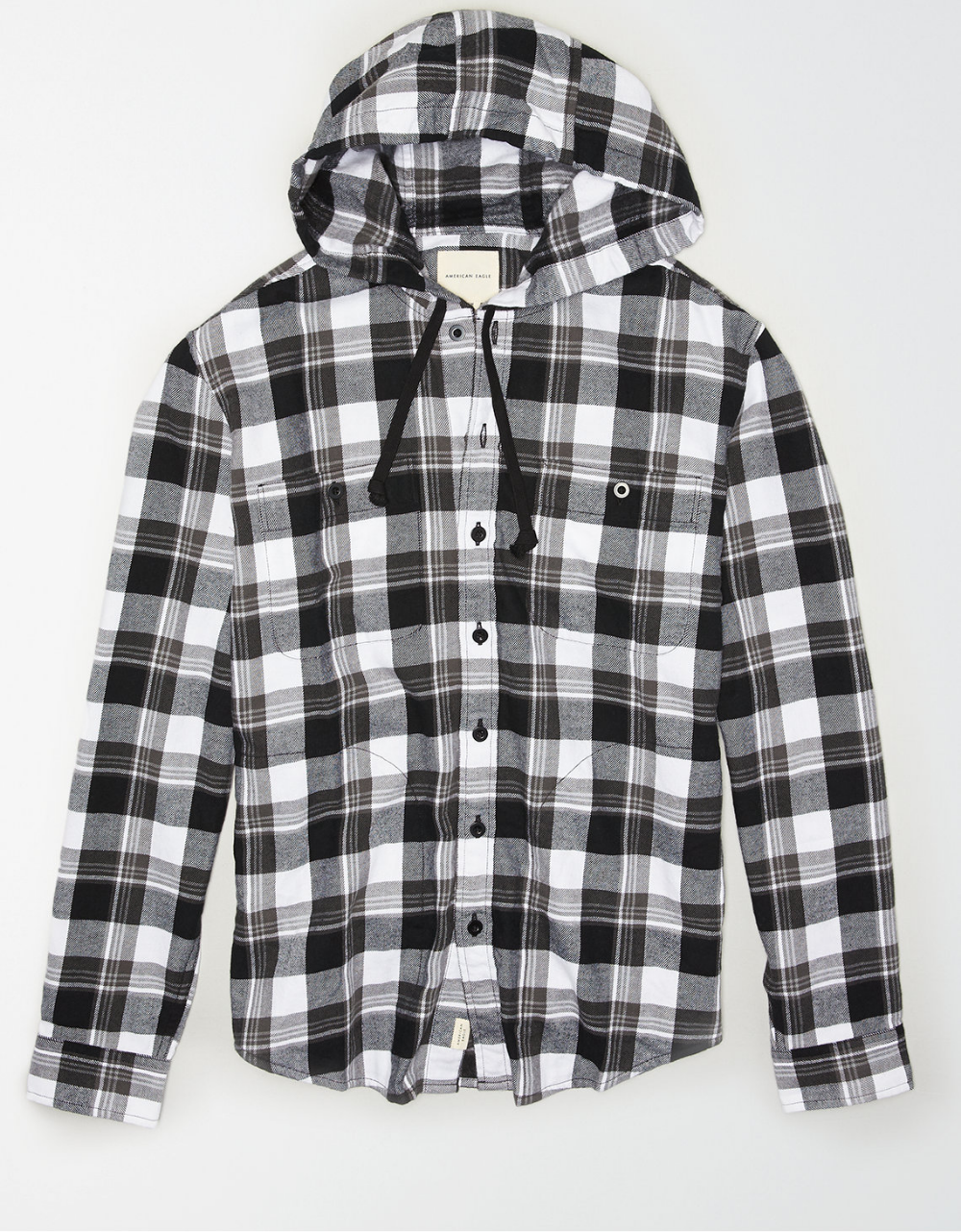 Ae Flannel Hooded Shirt Mens Outfitters Casual Shirts For Men Hooded Shirt [ 1282 x 1000 Pixel ]