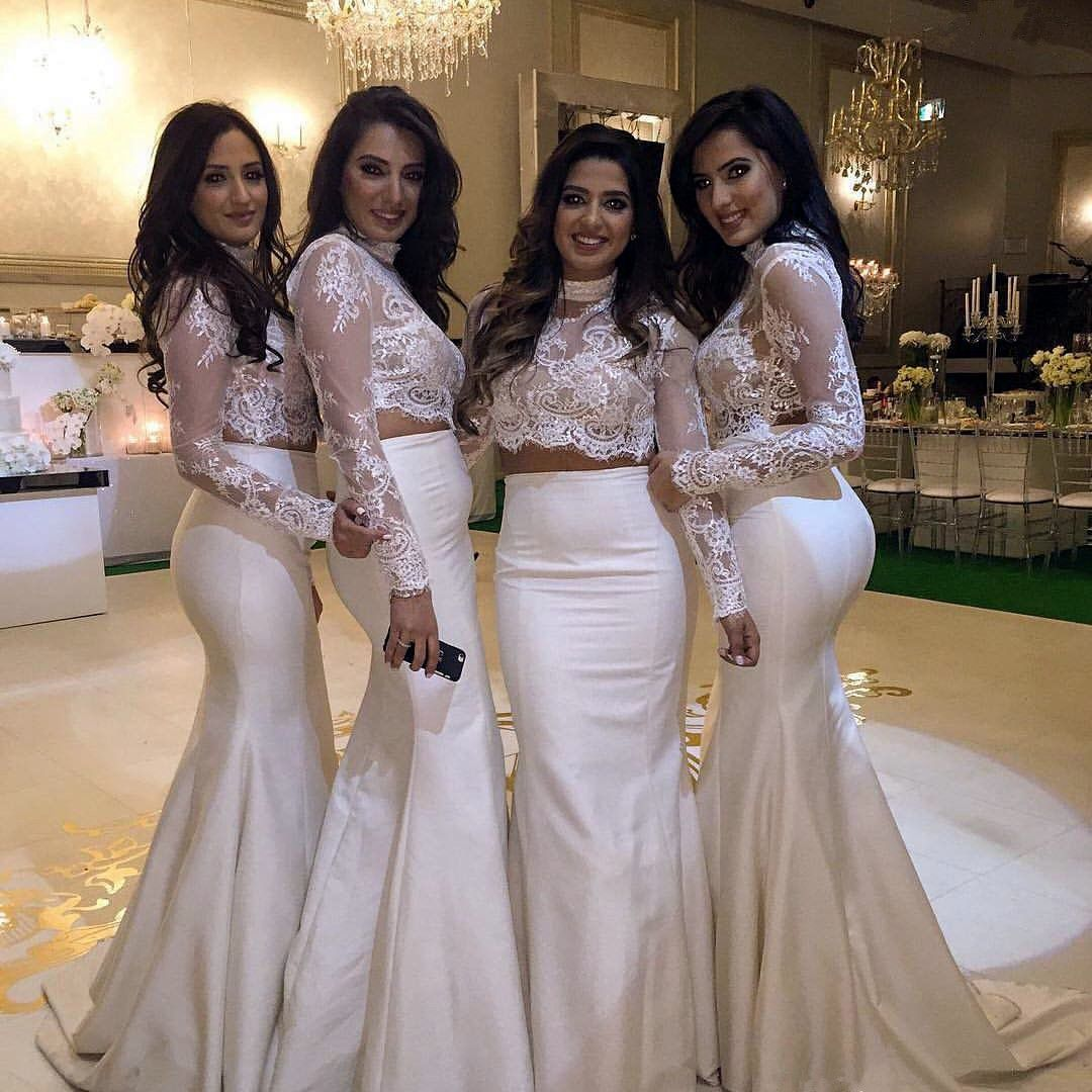 High neck two pieces white mermaid lace bridesmaid dresseslong