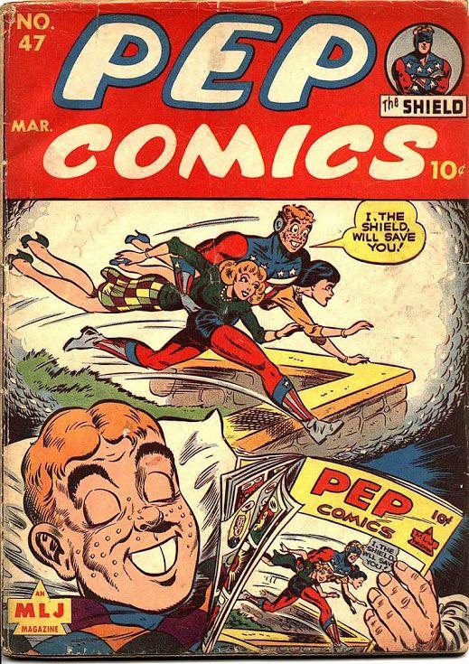 Comic Book Critic - Google+ - Pep Comics #47 (Mar '44) cover by Harry Sahle.