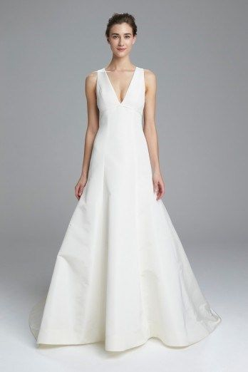 2017 Amsale Keaton Dress Faille De Soie Fit To Flare Gown With Sheer Organza Back Buttons Available In Silk White Or Ivory