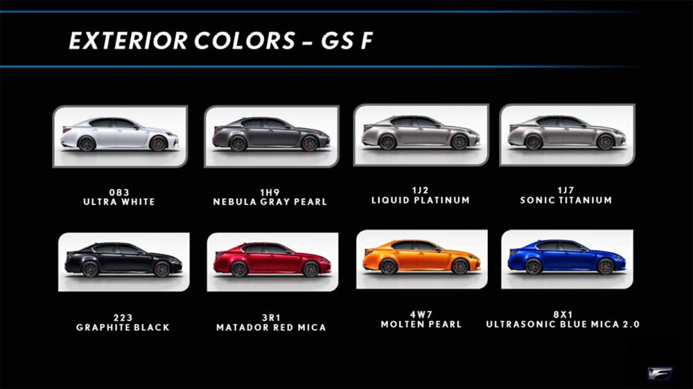Lexus Gs F Color Chart Lexus First Drive