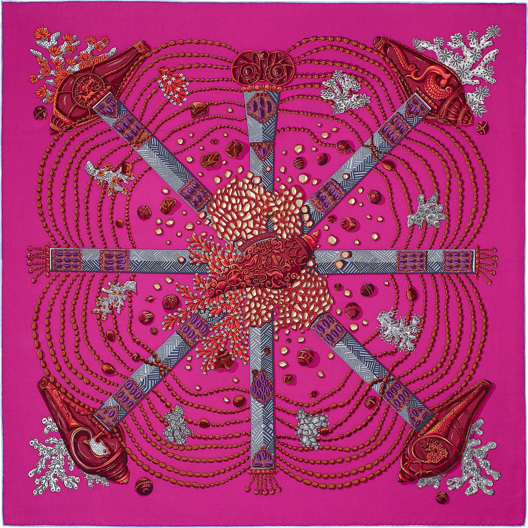 38e99ca6517e Carré 90 x 90 cm Hermès   Chemins de Corail   Damn, I love a scarf ...