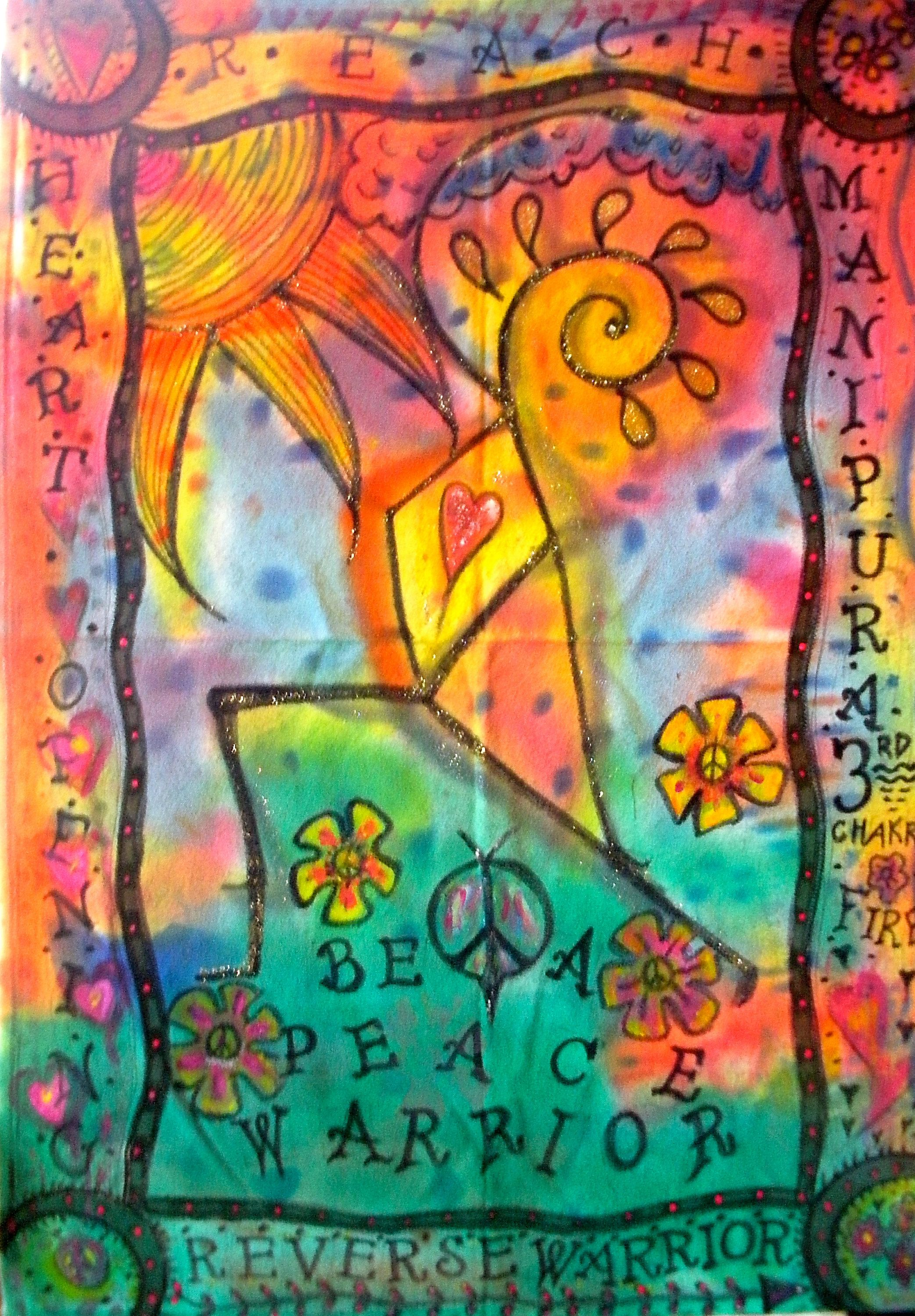 Peace warrior hippie art yoga feng shui yoga practice original painting
