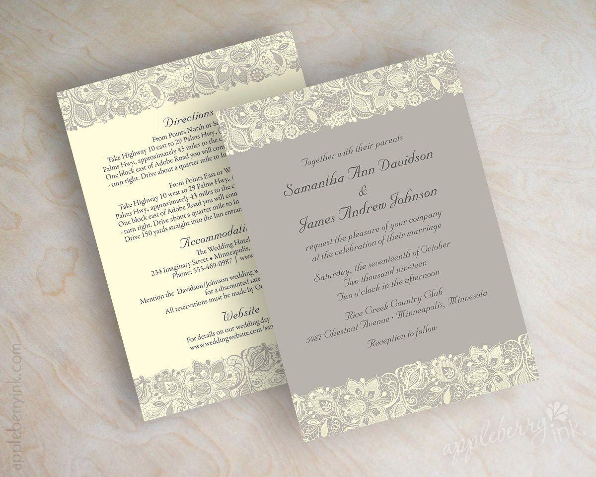 Lace wedding invitation, victorian wedding invitations, vintage ...