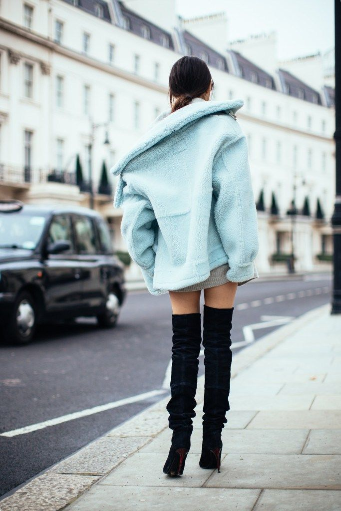 doina ciobanu blue aviator jacket thigh high boots-8