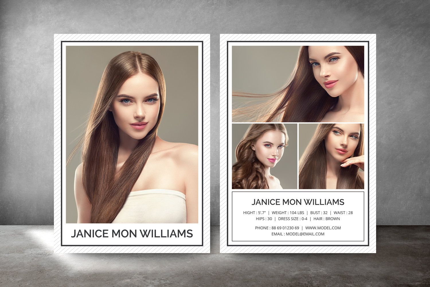 Modeling Comp Card Fashion Model Comp Card Comp Card Template Photoshop And Elements Template Model Comp Card Card Template Business Card Template Photoshop