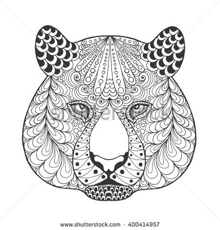 Tiger Head Adult Antistress Coloring Page Black White Hand Drawn