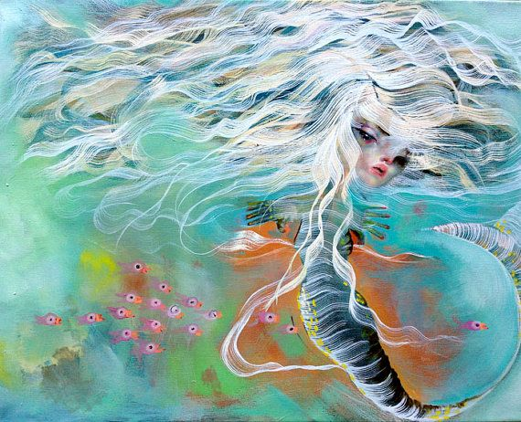 Mermaid original oil painting by Triciajoy on Etsy, $300.00