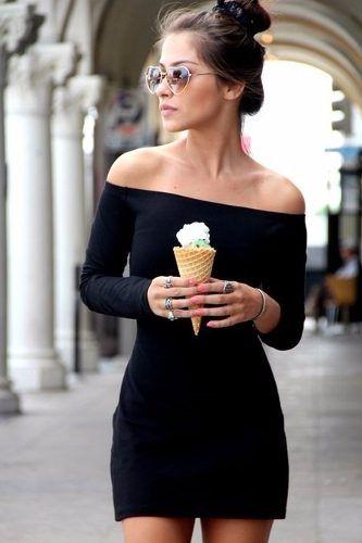 558f33ffd vestido listrado feminino ombro a ombro manga longa curto | Projetos ...