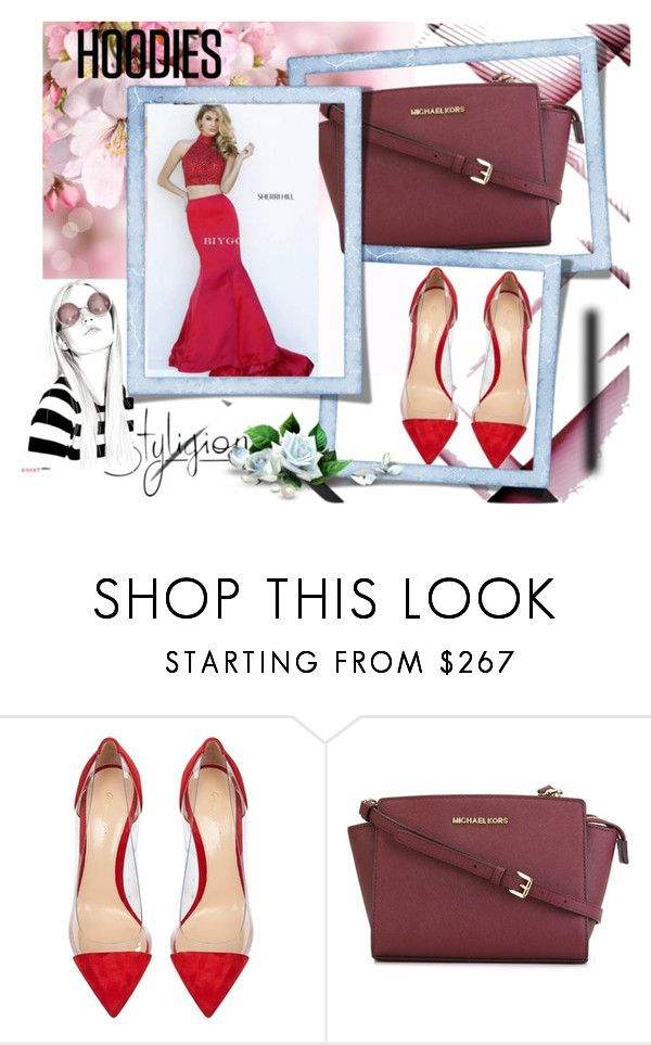 """Two Piece Sherri Hill 32300 Taffeta Red Skirt 2016"" by chrissybarby ❤ liked on Polyvore featuring Gianvito Rossi, MICHAEL Michael Kors, Sherri Hill, women's clothing, women's fashion, women, female, woman, misses and juniors"