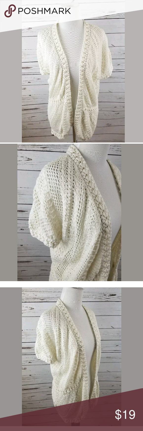 Isaac Mizrahi Live cream crochet cardigan Large | Shrug cardigan ...