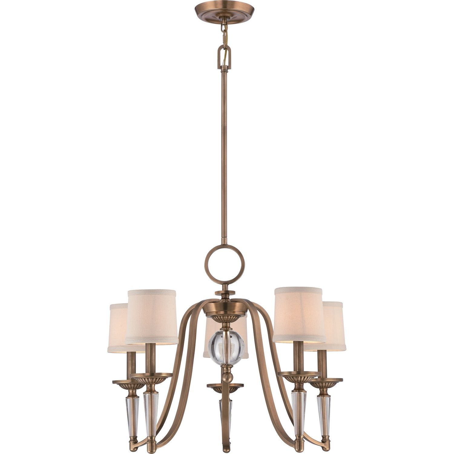Stately and majestic the Empire is an amazing UPTOWN chandelier with rich details. The beautiful crystal accents are highlighted by the lustrous Weathered Brass finished features on the base and candle holders. The petite shades are crafted in off white linen that softens the glow of light.