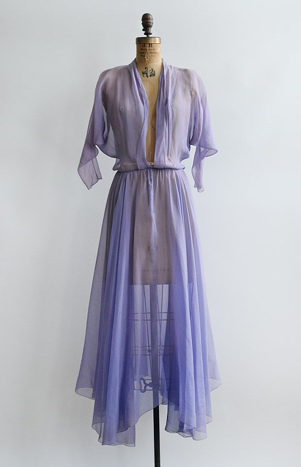 Name:Prelude to May Dress $148.00 Vintage 1930s 1940s sheer purple ...