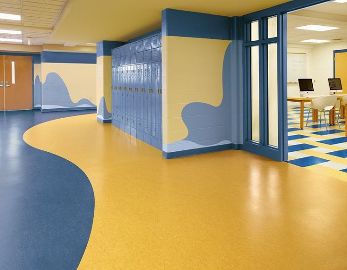 Linoleum Floor Is A Type Of Eco Friendly Flooring Library Design Interior Using