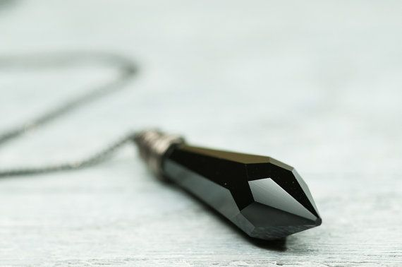 Jet Black Drop #Crystal #Necklace 40mm Drop #Swarovski by DevikaBox, $31.00