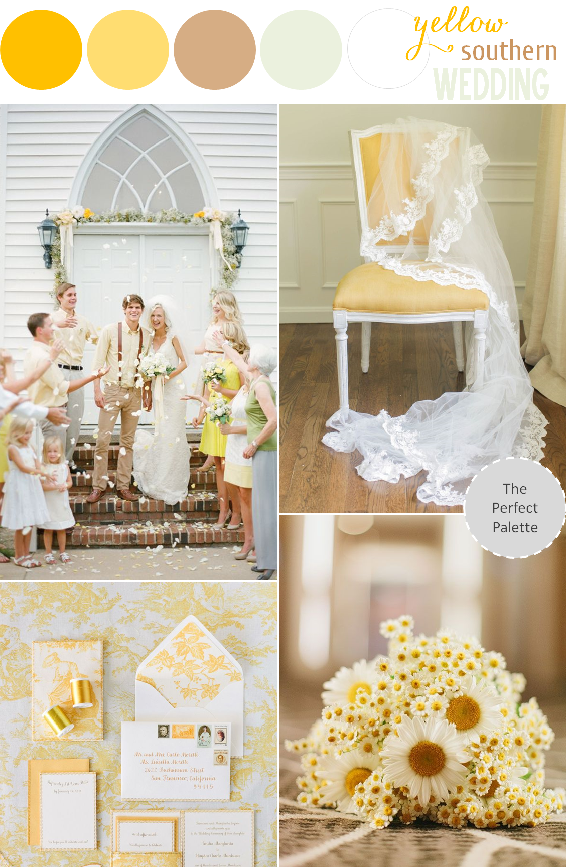 Sunny Southern Wedding: Yellow Styling Ideas | Southern weddings ...