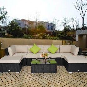 Conjunto De Muebles De Jardin De Ratan Y Aluminio 21 Piezas