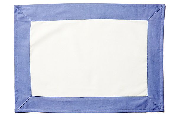 S/4 Border Place Mats, White/Periwinkle