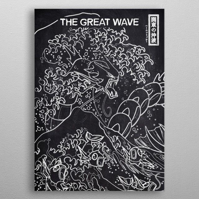 THE GREAT WAVE POKEMON by FARKI15 DESIGN | metal posters - Displate | Displate thumbnail