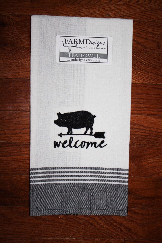 Pig Kitchen Towel ~ Pig Decor ~ Pig Lover ~ 4H Pig ~ Welcome Towel ~ Pig  Collector Gift ~ Pig Weathervane ~ Vintage Pig Decor