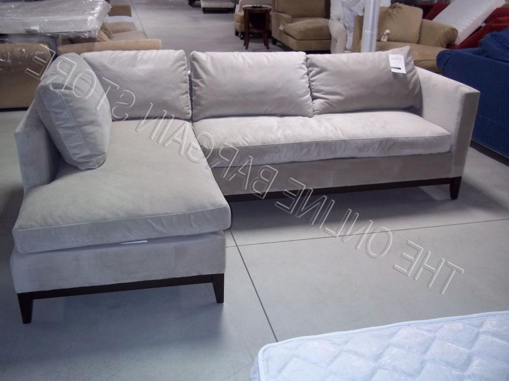 West Elm Pottery Barn Blake 2pc Sectional Sofa Loveseat Chaise Stone Gray  Velvet #WestElm #