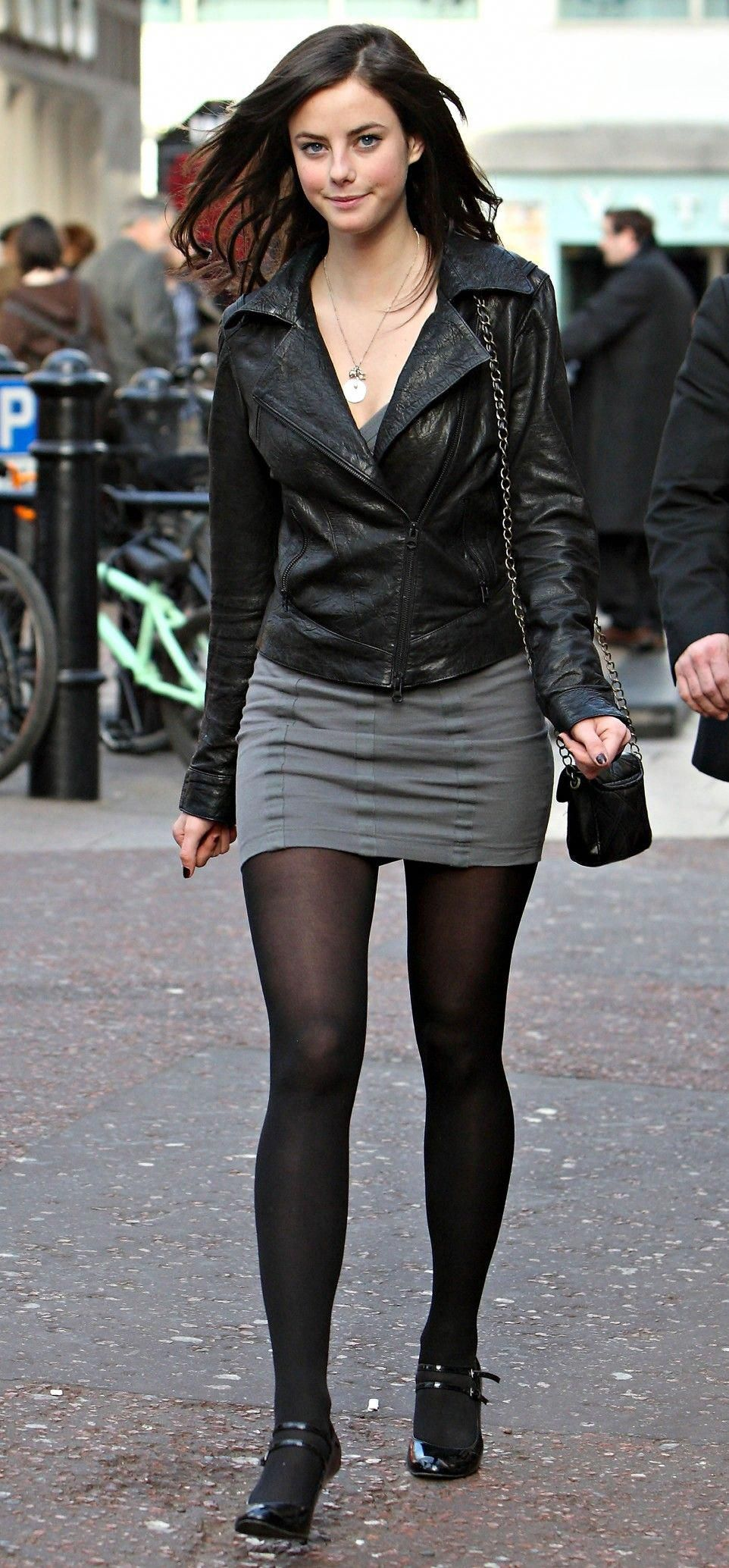 Kaya Scodelario Black Leather Jacket, Gray Minidress And -1695
