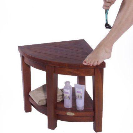 Amazon Com Oasis Fully Assembled Teak Corner Shower Bench With Shelf Shower Sitting Storage Saving Foot Corner Shower Bench Corner Shower Teak Shower Bench