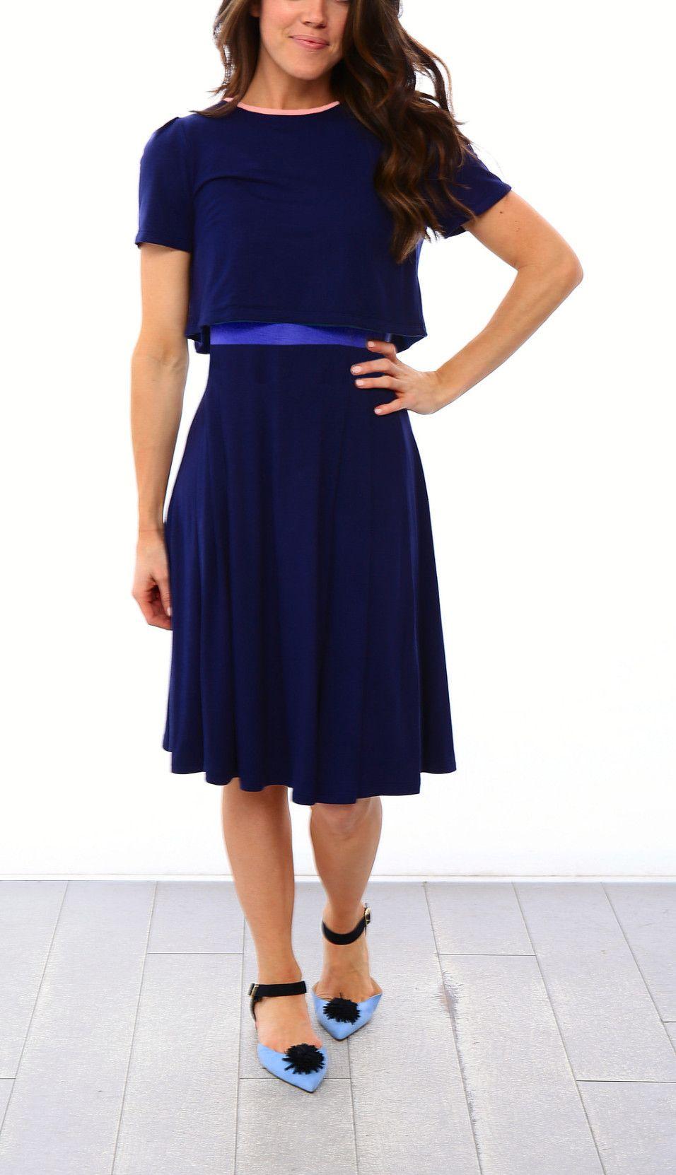 e214e1fb5958d Crop Top Skater Nursing Dress - Navy/Royal Blue | Harper & Bay ...
