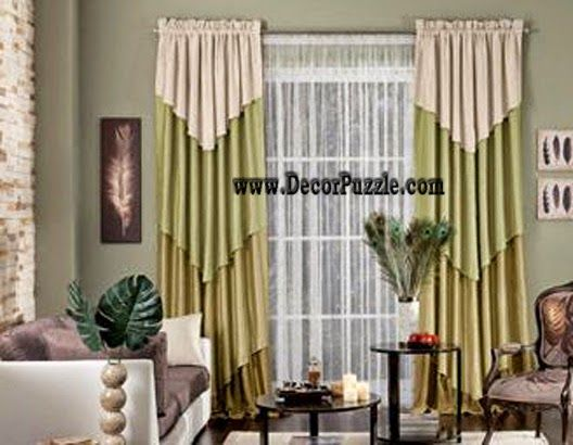 Beau Diy Simple Curtain Design 2015, Green Curtain Styles For Living Room