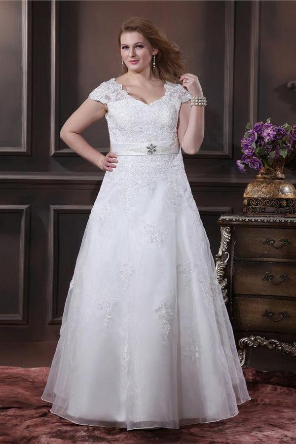 Elegant White Organza Wedding Gown - Order Link: http://www.theweddingdresses.com/elegant-white-organza-wedding-gown-twdn3294.html - Embellishments: Plus size,Beading,Applique,Waistband; Length: Floor Length; Fabric: Organza; Waist: Natural - Price: 211.35USD