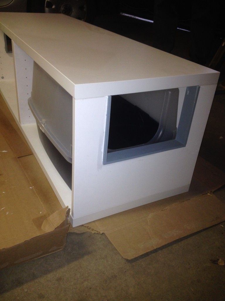 Hidden Cat Litter Boxes With Ikea Besta Cabinet Hiding Cat Litter Box Cat Litter Box Litter Box