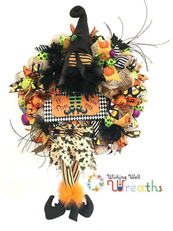 Witch wreath legs, Witch wreath sign, Halloween witch wreath - witch decorations