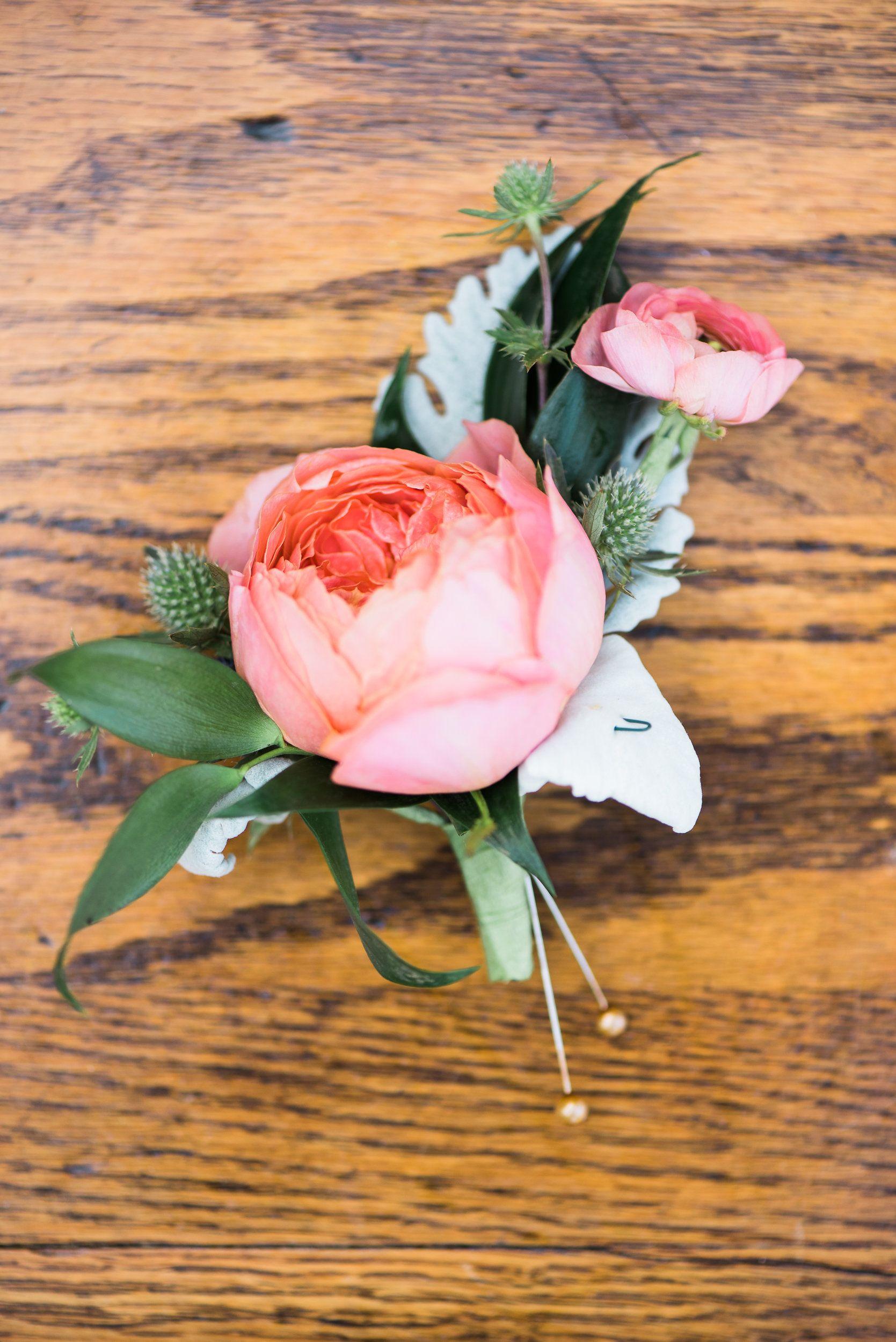 pink garden rose boutonniere