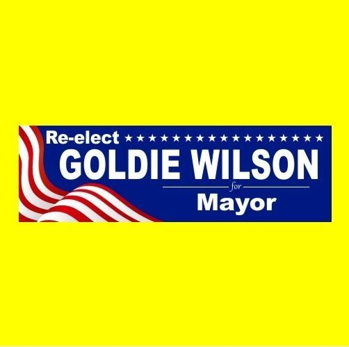 """Funny """"RE-ELECT GOLDIE WILSON"""" Back to the Future prop BUMPER STICKER, movie new"""