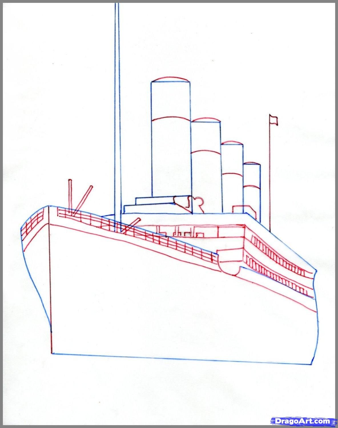 hight resolution of how to draw the titanic titanic step 2