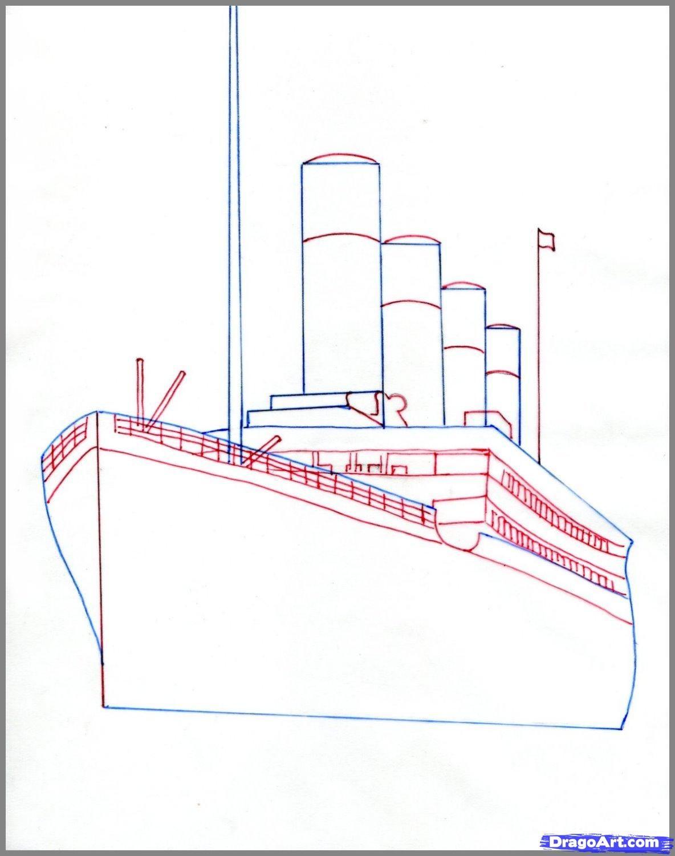 how to draw the titanic titanic step 2 [ 1184 x 1500 Pixel ]