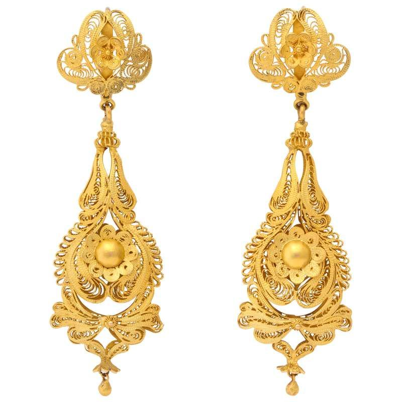 Antique Georgian Gold Filigree Earrings