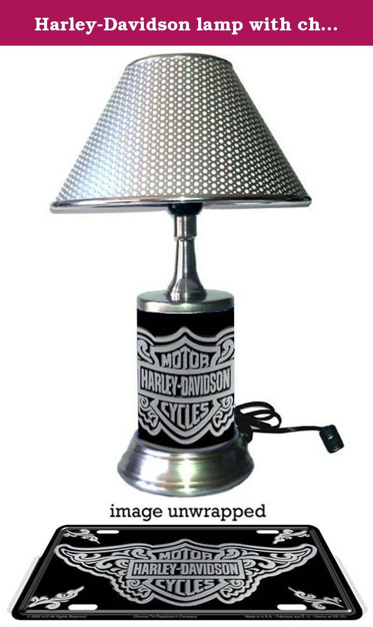 Harley davidson lamp with chrome shade filigree the lamp base is harley davidson lamp with chrome shade filigree the lamp base is wrapped with mozeypictures Image collections